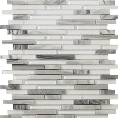 Lucente Random Sized Glass and Stone Mosaic Tile in Grazia Linear by Emser Tile