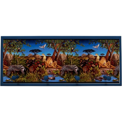Jungle Scene Wall Plaque with Wooden Pegs by Illumalite Designs