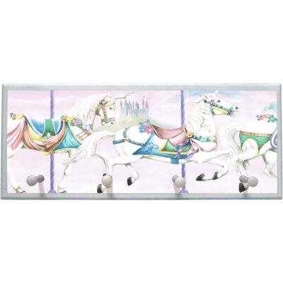 Unicorn Carousel Wall Plaque with Wooden Pegs by Illumalite Designs