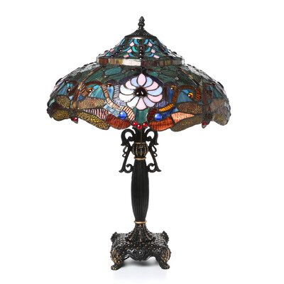 "Chloe Lighting Tiffany Dragonfly 27"" H Table Lamp with Bowl Shade"