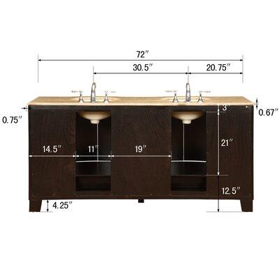 """Silkroad Exclusive Merrimack 72"""" Double Bathroom Vanity Set"""