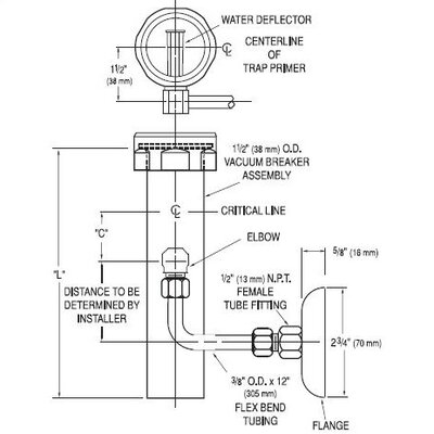 "Sloan 1.5"" x 21.5"" Vacuum Breaker Trap Primer"