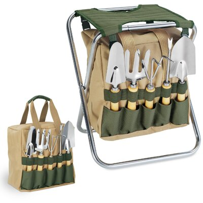 Gardener Seat & Tools Set in Green by Picnic Time