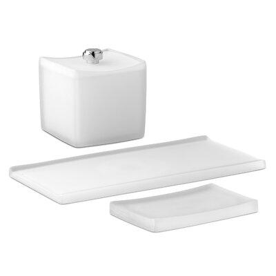 Bath and Home 3 Piece Captiva Soap Dish with Accessory Jar and Amenity Tray Set ...