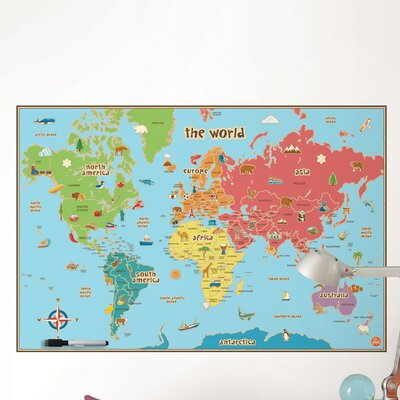 Wallpops Dry Erase Kids World Map Wall Decal Amp Reviews