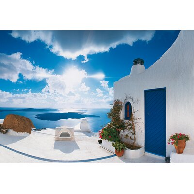 Brewster Home Fashions Ideal Decor Santorini Sunset Wall Mural