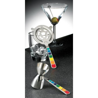 Masquerade 2 Piece Cocktail Strainer and Jigger Set by Fiesta
