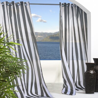 Outdoor Décor Escape Outdoor Stripe Grommet Top Single Curtain Panel Product Photo