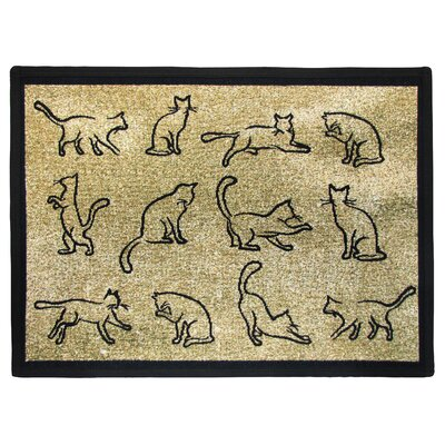 PB Paws & Co. Gold / Black Kitten Fun Tapestry Indoor/Outdoor Area Rug by Park ...