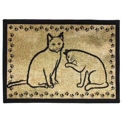 PB Paws & Co. Gold / Black Kitty Pals Tapestry Indoor/Outdoor Area Rug by Park ...