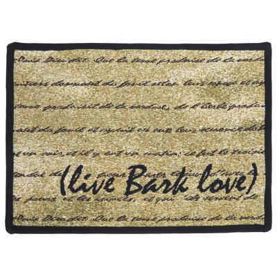 PB Paws & Co. Gold / Black Live Bark Love Tapestry Indoor/Outdoor Area Rug by ...