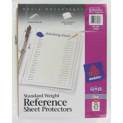 Avery 25 Pack Clear Standard Weight Reference Sheet Protector