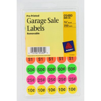 Avery 350 Count Assorted Colors Pre-Printed Garage Sale Label