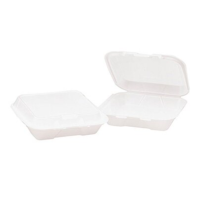 General Foam Hinged 3-Compartment Carryout Container in White