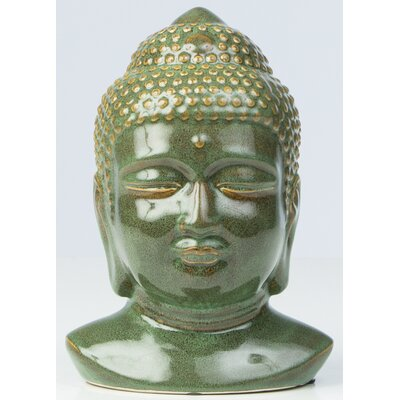 Glazed Ceramic Buddha Head Statue by Alfresco Home