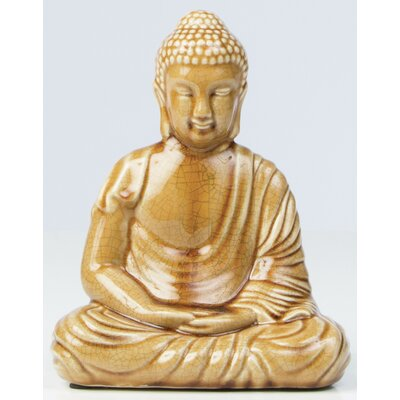 Glazed Ceramic Peaceful Buddha Statue by Alfresco Home