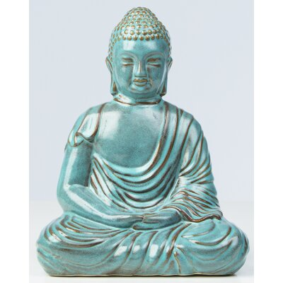 Glazed Ceramic Large Peaceful Buddha Statue by Alfresco Home