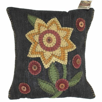 Primitive Button Blooms Throw Pillow by Homespice Decor