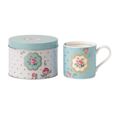 Royal Albert Polka Blue Seasonal Mug with Tin Container