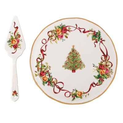 Royal Albert Old Country Roses Christmas Tree Low Server and Cake Stand