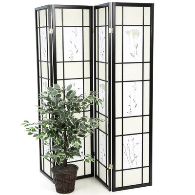 """Wildon Home ® 70.25"""" x 69"""" Pateros Floral Printed Folding 4 Panel Room Divider"""