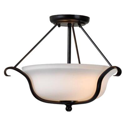 Wildon Home ® Basket 2 Light Semi-Flush Mount
