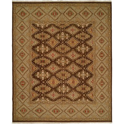 Soumak Hand-Knotted Brown / Green Area Rug by Wildon Home ®