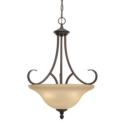 Lancaster Bowl Pendant in Rubbed Bronze by Golden Lighting