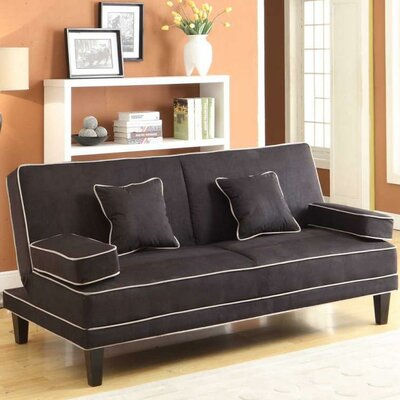 Microfiber Two Tone Piping Convertible Sofa by Wildon Home ®