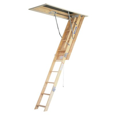 Werner 8 ft Wood Attic Ladder with 250 lb. Load Capacity
