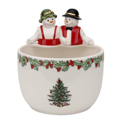 Christmas Tree Figural Mr. and Mrs. Snowman Candy Bowl by Spode