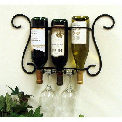 3 Bottle Wall Mount Wine and Glass rack by J & J Wire