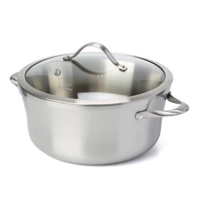 Contemporary Stainless Steel 6.5 Qt. Stock Pot with Lid by Calphalon