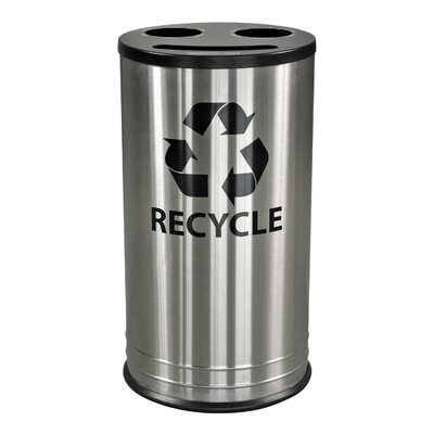 Ex-Cell 13-Gal Three Stream Indoor Multi Compartment Recycling Bin