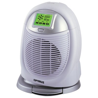 Portable Electric Fan Compact Heater with Touch Screen LCD by Optimus
