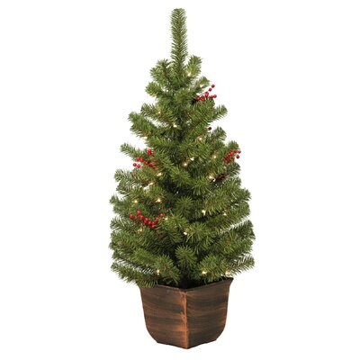 General Foam Plastics 4' Vernon Entryway Green Artificial Christmas Tree with 50 Clear Lights