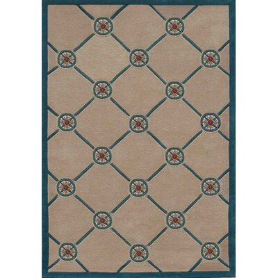 Beach Rug Ivory/Teal Compass Novelty Rug by American Home Rug Co.