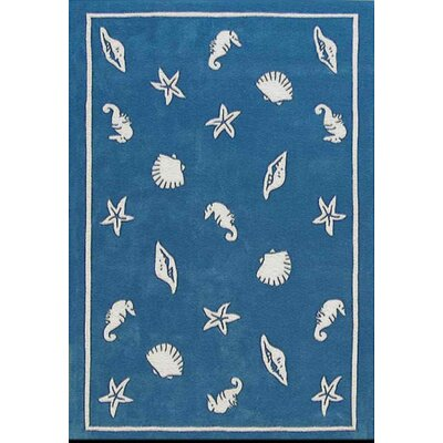 Beach Rug Blue Shells and Seahorses Novelty Rug by American Home Rug Co.