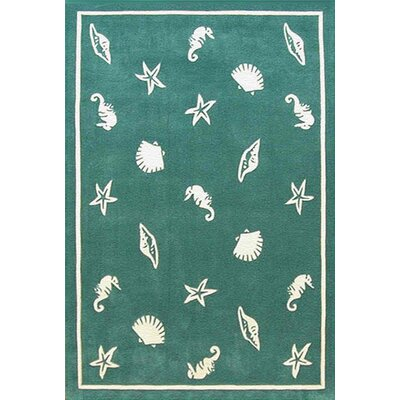 Beach Rug Teal Shells and Seahorses Novelty Rug by American Home Rug Co.