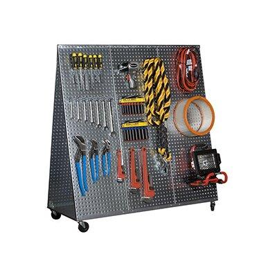 "Alligator Board 48"" x 20"" ""A"" Frame Metal Pegboard WOW Tool Cart with Wheels"