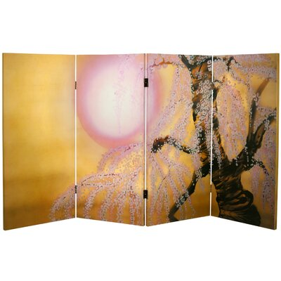 """Oriental Furniture 36"""" x 50.4"""" Double Sided Sakura Blossoms 4 Panel Room Divider"""