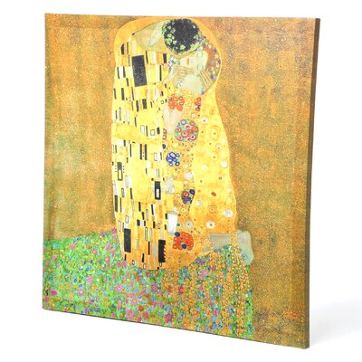 Oriental Furniture 'The Kiss' by Gustav Klimt Painting Print on Wrapped Canvas
