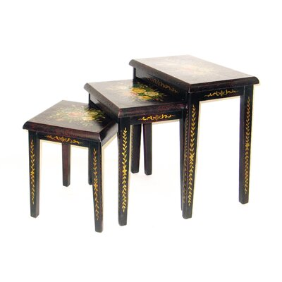 Floral 3 Piece Nesting Tables by Oriental Furniture