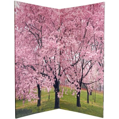"""Oriental Furniture 72"""" x 48"""" Double Sided Cherry Blossoms 4 Panel Room Divider"""