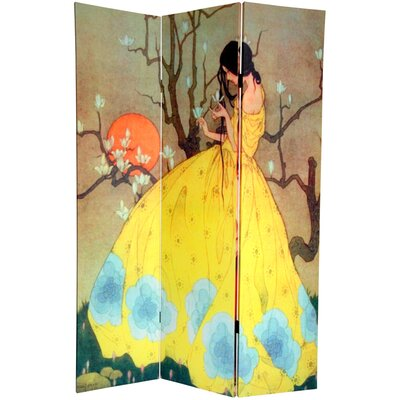 """Oriental Furniture 72"""" x 48"""" Double Sided Fairy Tale 3 Panel Room Divider"""