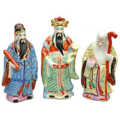 Oriental Furniture 3 Piece Tao Lucky Gods Figurine Set