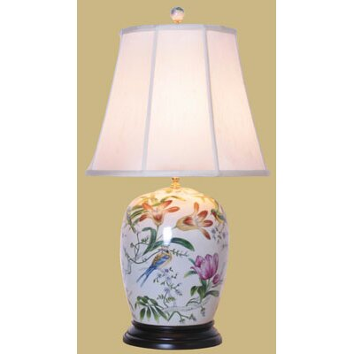 "Oriental Furniture Porcelain Lily 28"" H Table Lamp with Empire Shade"