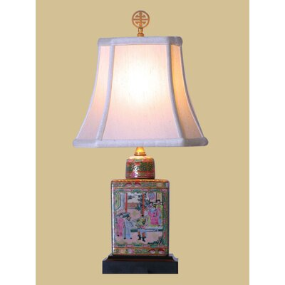 "Oriental Furniture Rose Medallion 18.5"" H Table Lamp with Bell Shade"