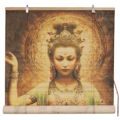 Kwan Yin with Lotus Bamboo Roller Blind Product Photo