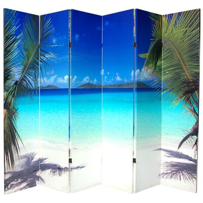 "Oriental Furniture 70.88"" x 94"" Double Sided Ocean 6 Panel Room Divider"